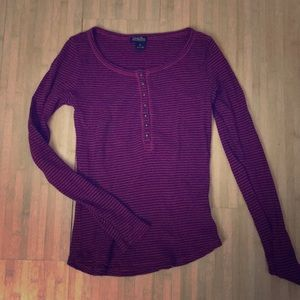 Pink + Purple Striped Lucky Brand Thermal Henley